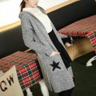 Star Print Hooded Long Cardigan