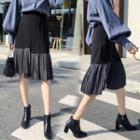 Pleats-hem Shirred Midi Skirt