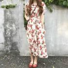 Short Sleeve Floral Printed Chiffon Dress