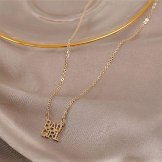 Alloy Lettering Pendant Necklace 1 Pc - Alloy Lettering Pendant Necklace - One Size