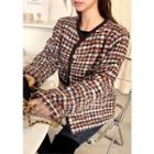 Buttoned Plaid Tweed Jacket