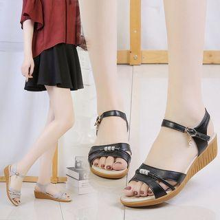 Ankle Strap Wedge-heel Sandals