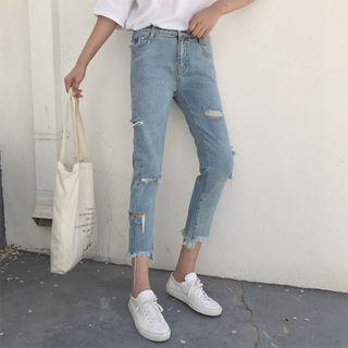 Ripped Fray Washed Jeans