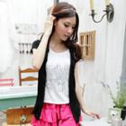 Inset Sequined Short-sleeve Top