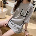 Sequined Pocketed Elbow Sleeve T-shirt