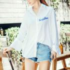 Contrast-trim Lettering Embroidered Shirt