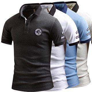 Patched Short-sleeve Polo Shirt