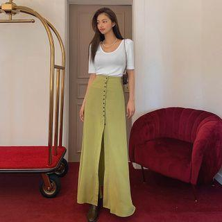 Band-waist Button-front Maxi A-line Skirt