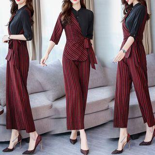 Striped Panel Mock Two-piece Jumpsuit