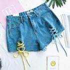 Color-block Lace-up Denim Shorts