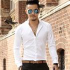 Plain Fly Collar Long-sleeve Shirt