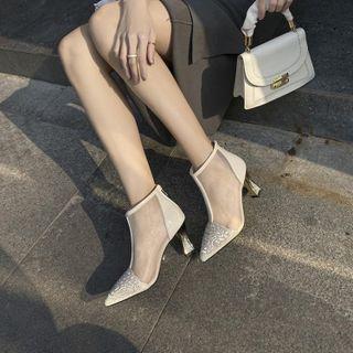 Rhinestone Mesh Panel Chunky Heel Ankle Boots