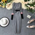 Paneled Midi Knit Sheath Dress