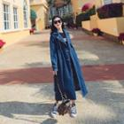 Double Breasted Long Denim Coat