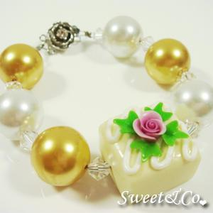 Sweet Color Rose Yellow Chocolate Pearl Crystal Bracelet