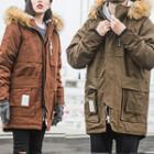 Faux-fur Trim Hooded Padded Long Coat