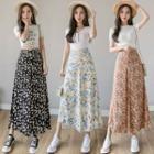 Floral Print Wide-leg Cropped Chiffon Pants