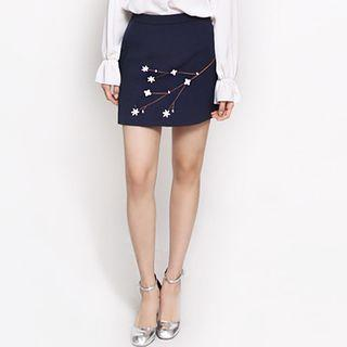 Floral Embroidery Mini Skirt