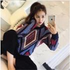 Patterned Long-sleeve Knit Sweater