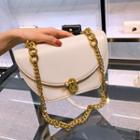 Faux Leather Locked Chain Strap Crossbody Bag