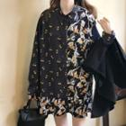 Long-sleeve Floral Print Mini A-line Shirt Dress / Double-breasted Blazer