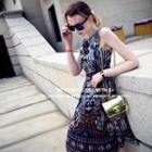 Print Sleeveless Chiffon Dress