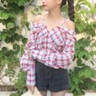 Plaid Cold Shoulder Long-sleeve Blouse
