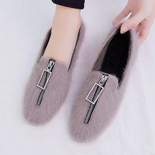 Furry Zip Detail Flats