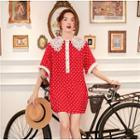 Lace Panel Dotted Elbow-sleeve Dress