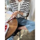 Collar-detail Striped Cardigan