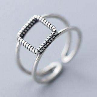 925 Sterling Silver Square Layered Open Ring Open Ring - 925 Sterling Silver - One Size
