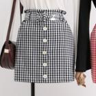 High-waist Check Pencil Skirt With Belt