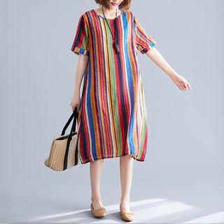 Striped Short-sleeve Midi Shift Dress As Shown In Figure - One Size