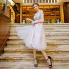 Lace Applique Flower Prom Dress
