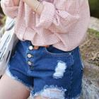 Button-front Distressed Denim Shorts
