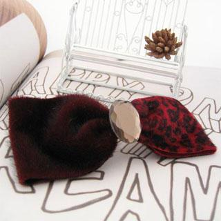 Faux Fur Bow Hair Pin-red