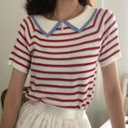 Striped Short-sleeve Collared Knit Top