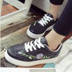 Floral Embroidered Platform Sneakers
