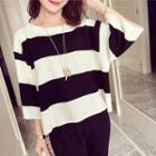 Color Block 3/4-sleeve Knitted Top