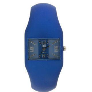 Rubber-effect Cuff Wrist Watch Blue - One Size
