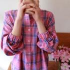 Band-cuff Plaid Shirt