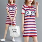Short-sleeve Striped Mini Knit Dress Stripe - Red - One Size