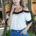 Off-shoulder Contrast Trim Chiffon Top