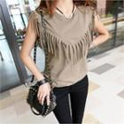 Fringed Cotton Tank Top
