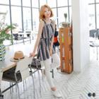 Patterned Tie Waist Sleeveless Chiffon Dress
