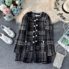 Gingham Tweed Long-sleeve Coat