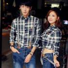 Long-sleeve Plaid Couple Shirt