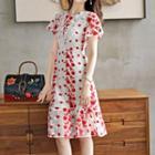 Crochet Trim Embroidered Short-sleeve A-line Dress
