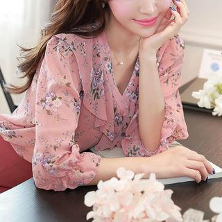 Ruffle-collar Floral Sheer Blouse