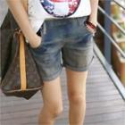 Band-waist Washed Denim Shorts